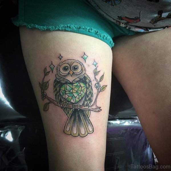 Traditional Owl Tattoo On Thigh
