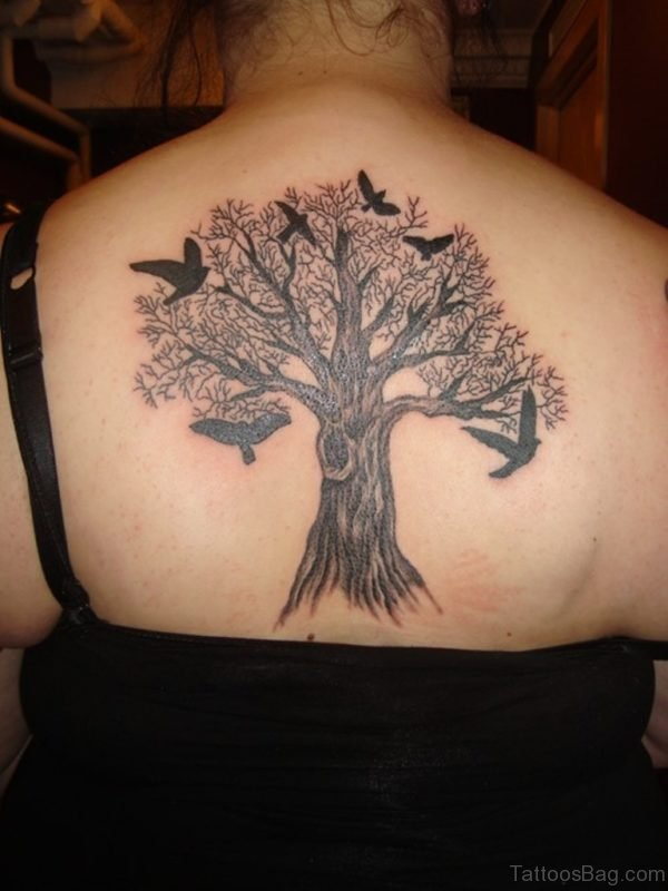 Tree And Bird Tattoo On Back