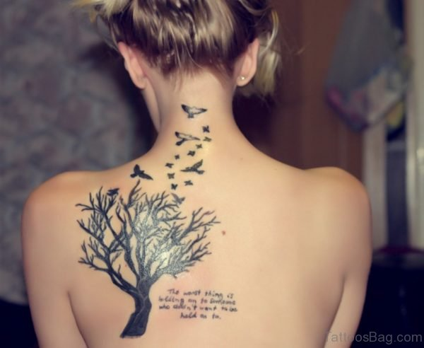 Tree And Birds Tattoo On Back