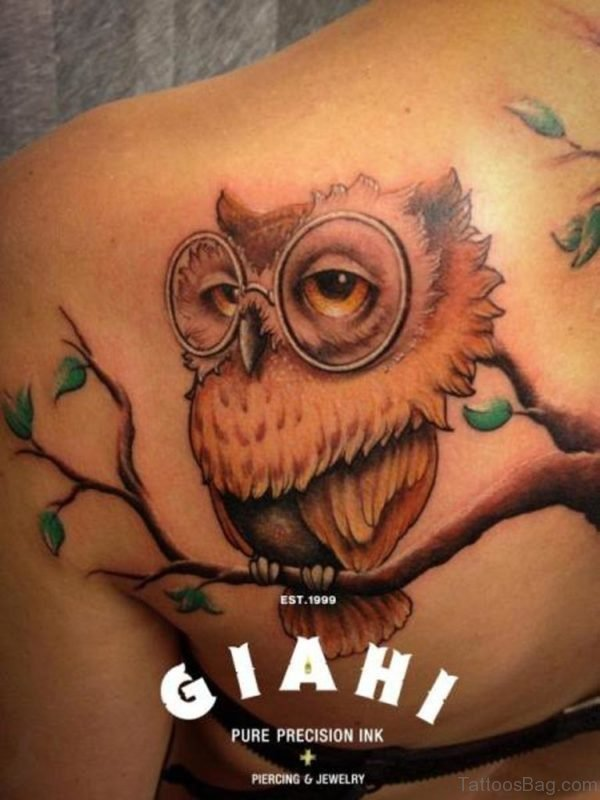 Tree And Owl Tattoo