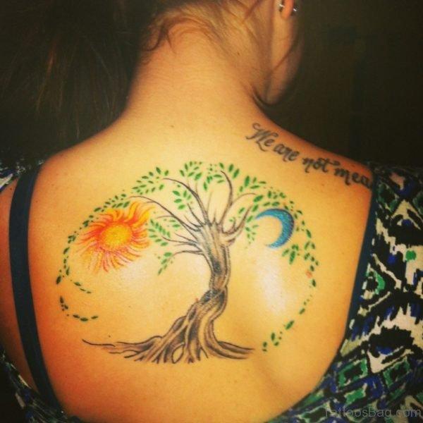 Tree And Sun Tattoo On Back