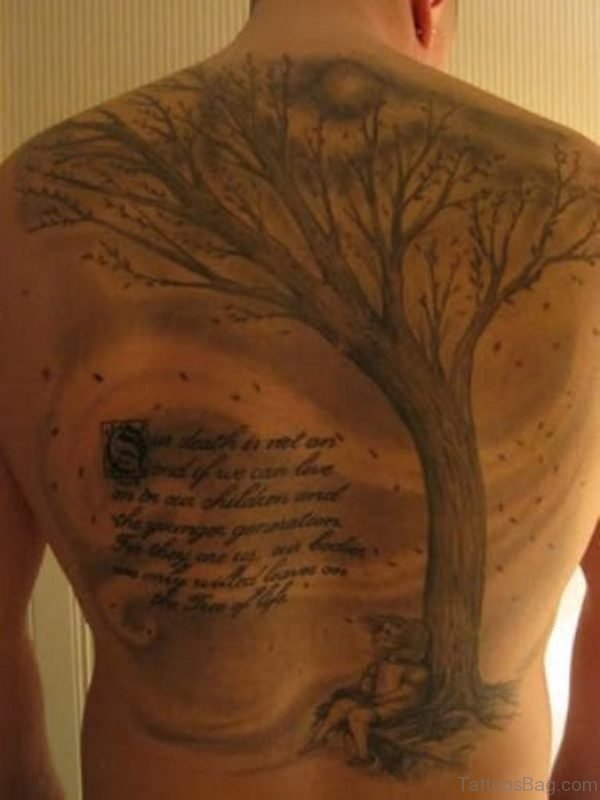Tree And Wording Tattoo