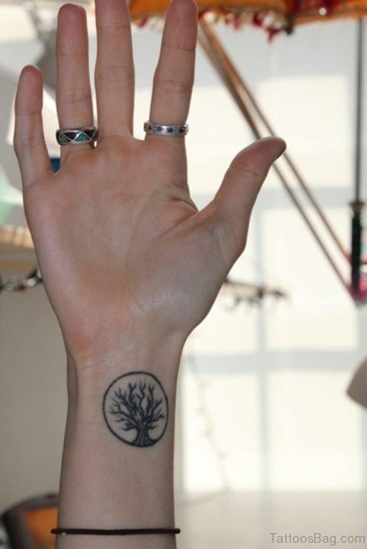 Tree Tattoo Design On Wrist