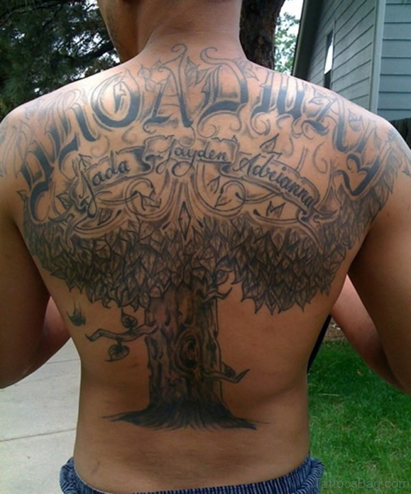 Tree and Name Tattoo On Back