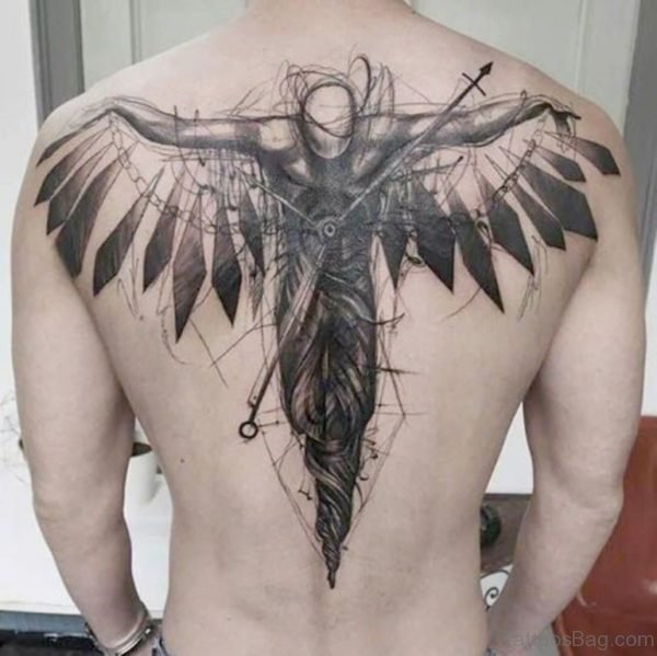 Black and Grey Back Horror Tattoo