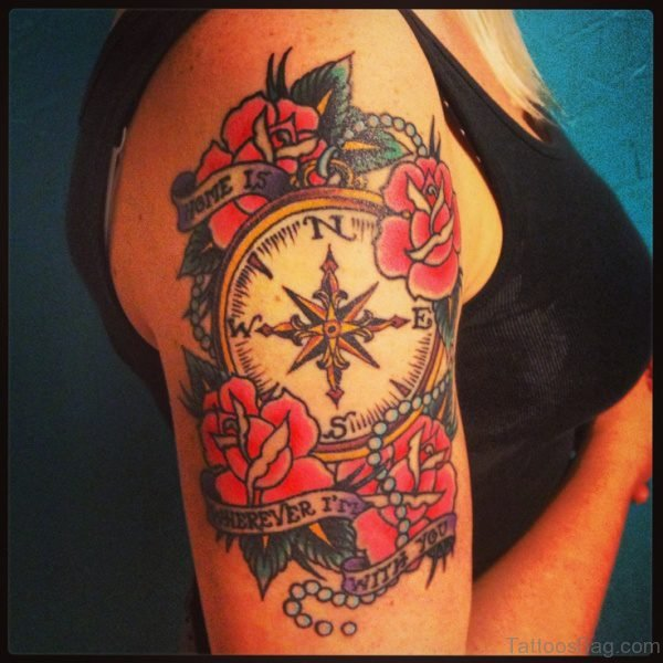 Trendy Clock And Rose Tattoo