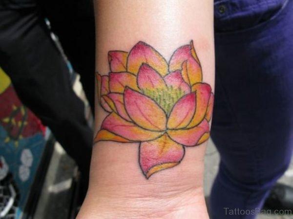 Trendy Lotus Tattoo On Wrist