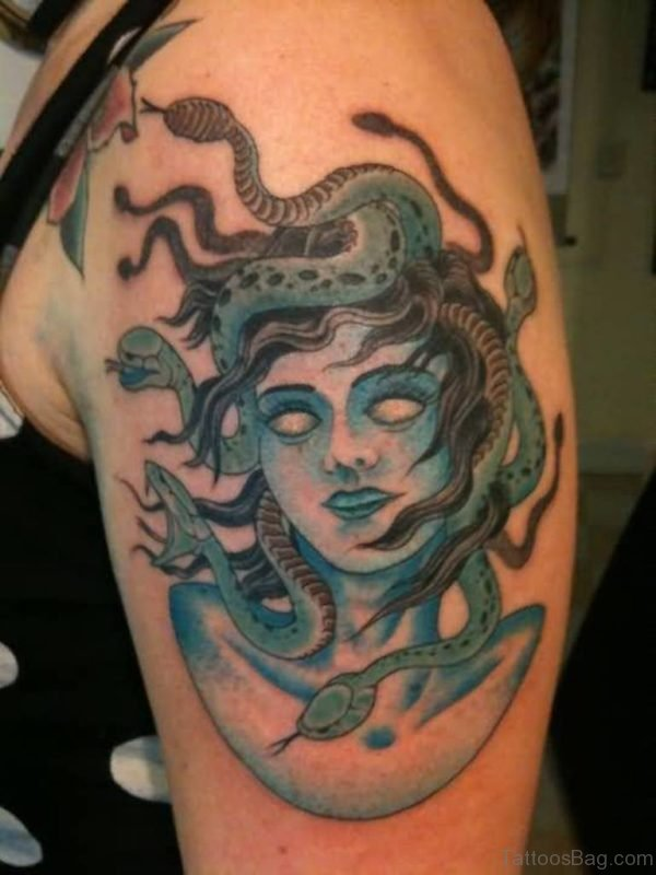 Trendy Medusa Tattoo On Shoulder