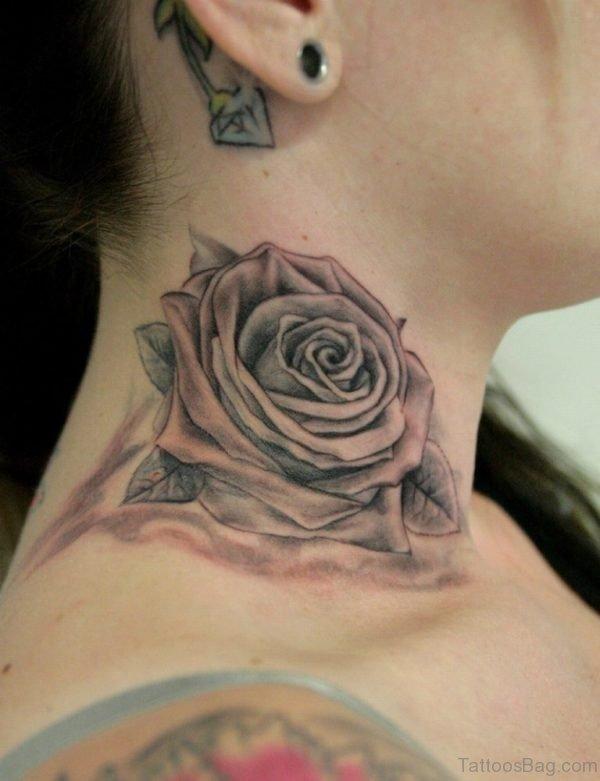 Trendy Rose Tattoo On Neck