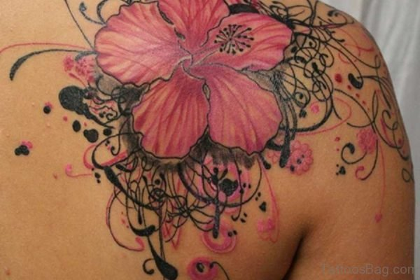 Tribal And Pink Flower Tattoo