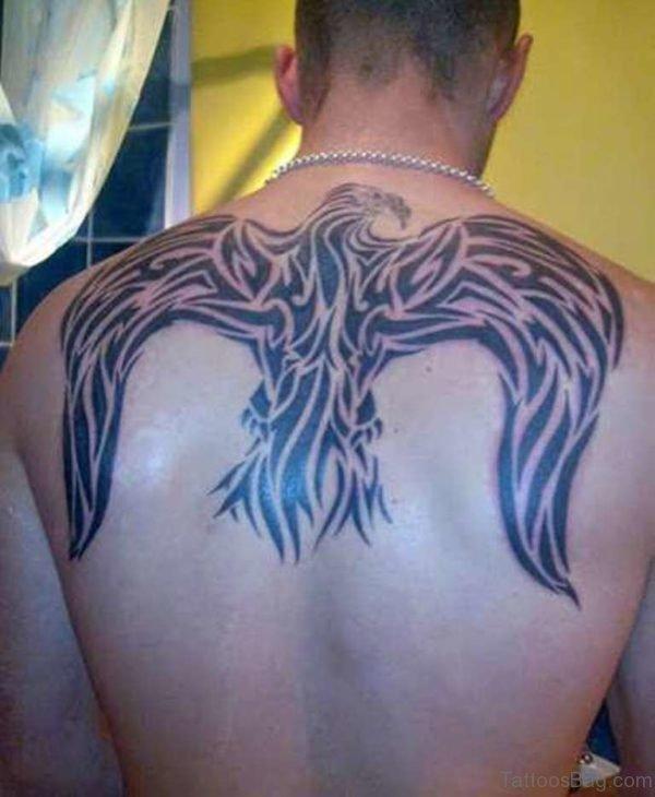 Tribal Back Bird Tattoo