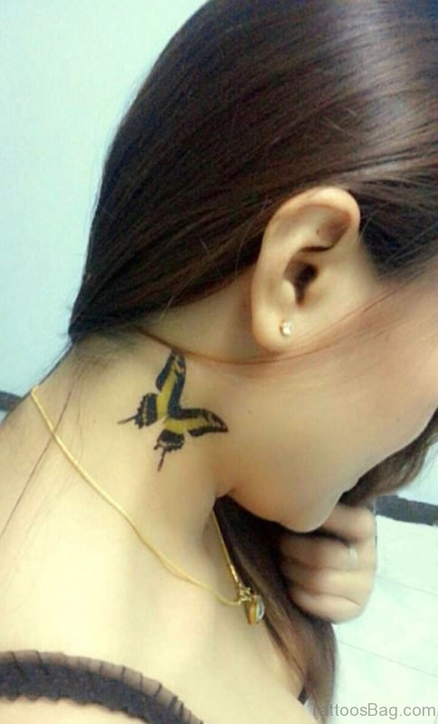 Tribal Black Butterfly On Neck
