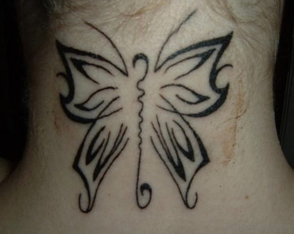 Tribal Black Butterfly Tattoo On Neck