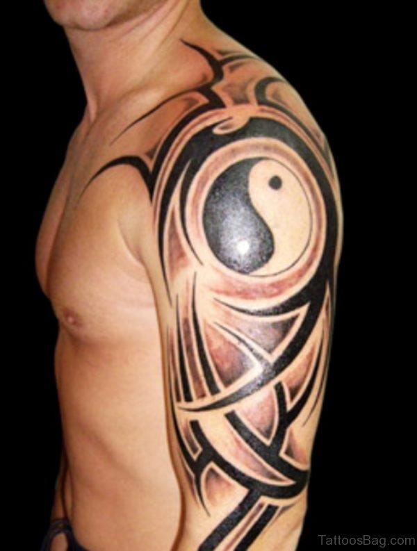 Tribal Black Yin Yang Tattoo