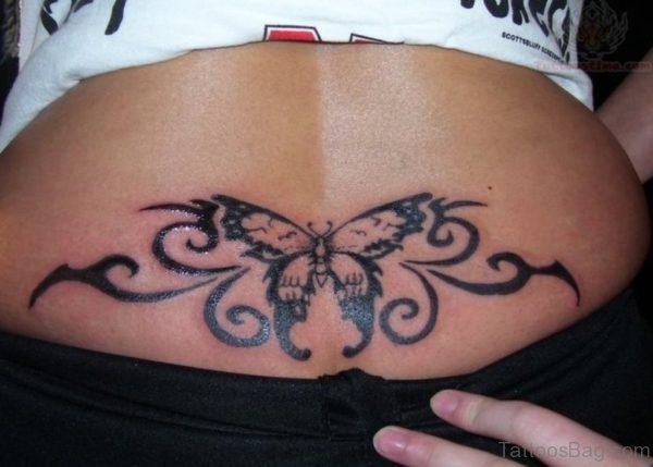 Tribal Butterfly Tattoo On Lower Back