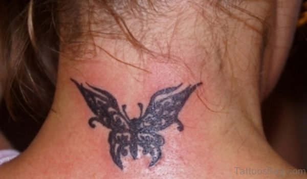 Tribal Butterfly Tattoo On Neck
