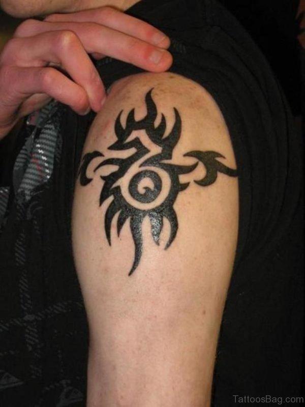 Tribal Capricorn Tattoo On Shoulder