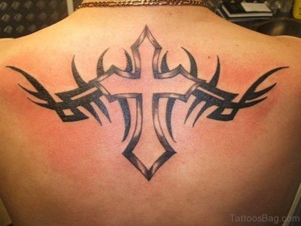 Tribal Cross Tattoo Design On Back