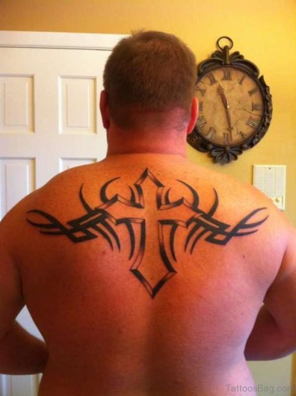 Tribal Cross Tattoo On Back