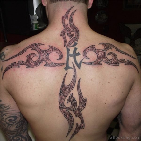 Tribal Cross Tattoo On Men Back