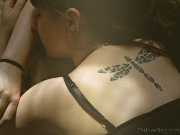 Tribal Dragonfly Tattoo On Back