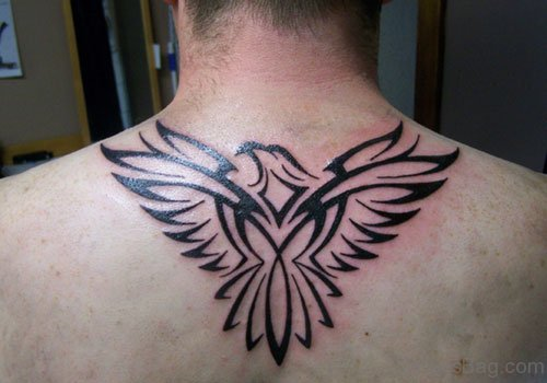 Tribal Eagle Tattoo On Upper Back