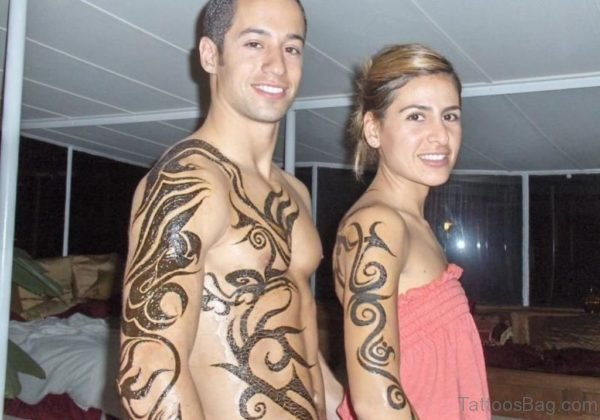Tribal Henna Shoulder Tattoo