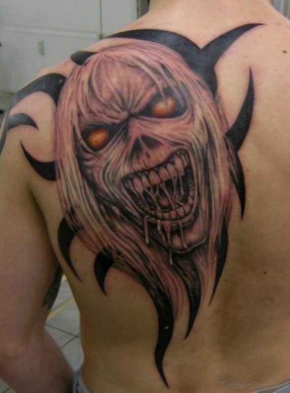 Tribal Horror Tattoo On Back