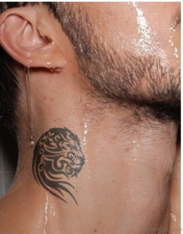 Tribal Lion Face Tattoo On Neck