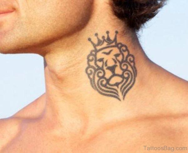 Tribal Lion Tattoo On Neck