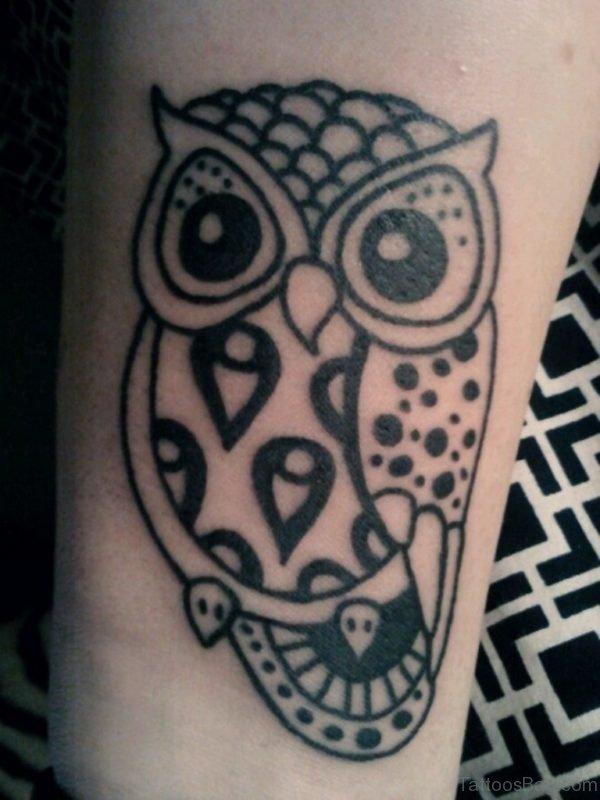 Tribal Owl Tattoo On Wrist