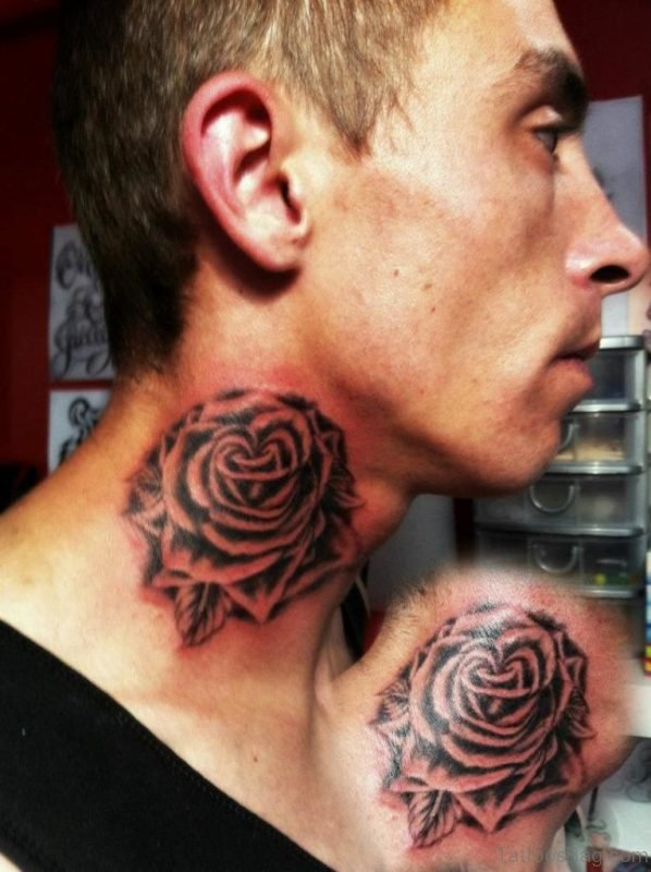 Tribal Rose Tattoo On Neck