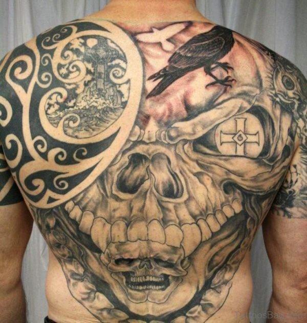 Tribal Skull Tattoo On Full Back