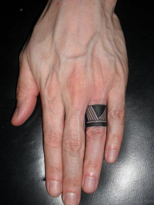 Tribal Tattoo On Finger