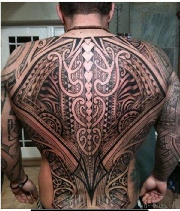 Tribal Tattoo On Full Back