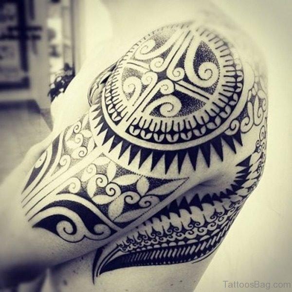 Tribal Tattoo On Left Shoulder