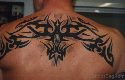Tribal Tattoo On Upper Back
