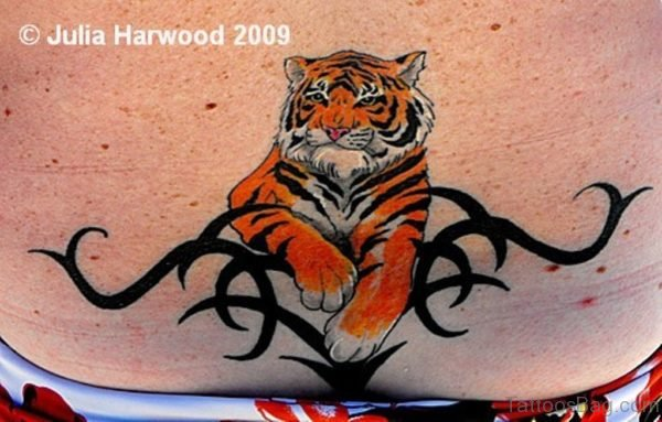 Tribal Tiger Tattoo On Lower Back