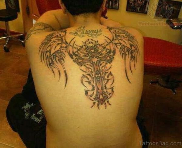 Tribal Wings And Cross Tattoo