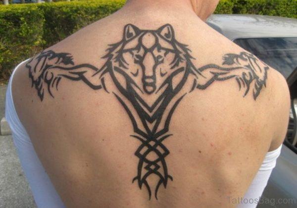 Tribal Wolf Tattoo On Back