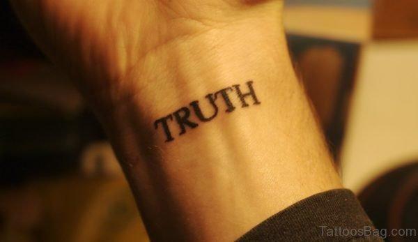 Truth Word Tattoo On Wrist