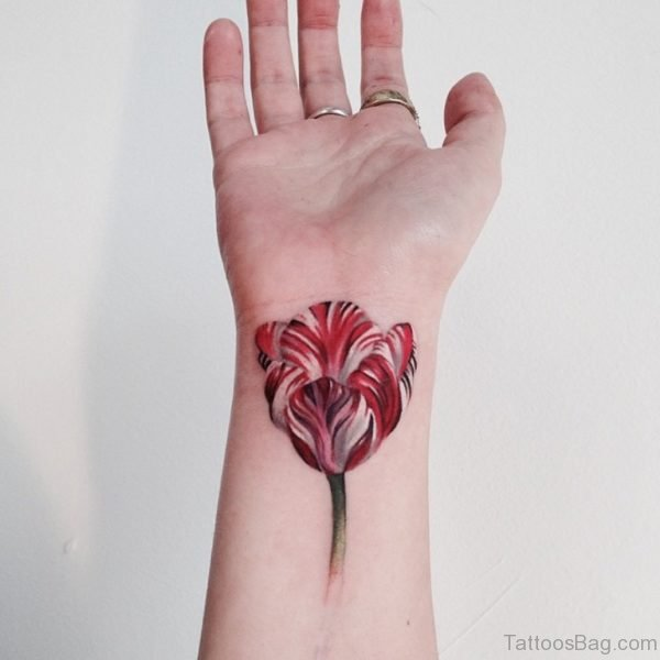 Tulip Flower Tattoo On Wrist
