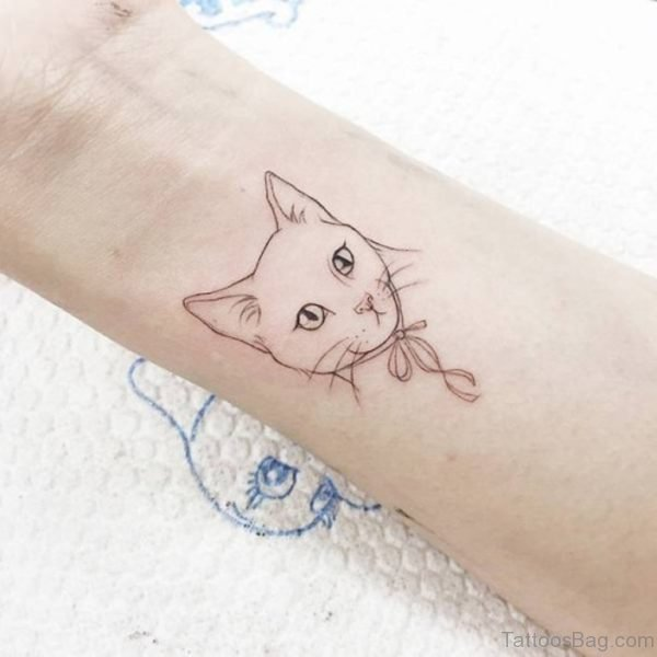 Cat Tattoo On Wrist