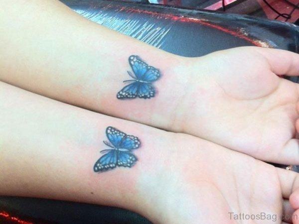 Twin Blue Butterfly Tattoo