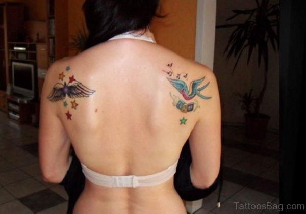 Twin Blue Swallow Tattoo