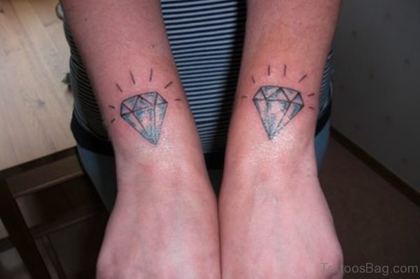 Twin Diamond Tattoo On Wrist