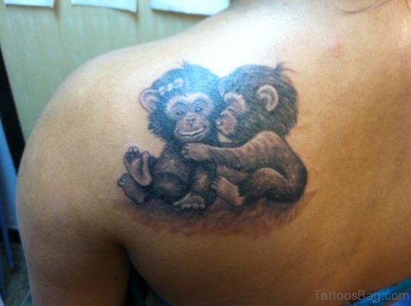 Two Cute Monkey Shoulder Tattoo