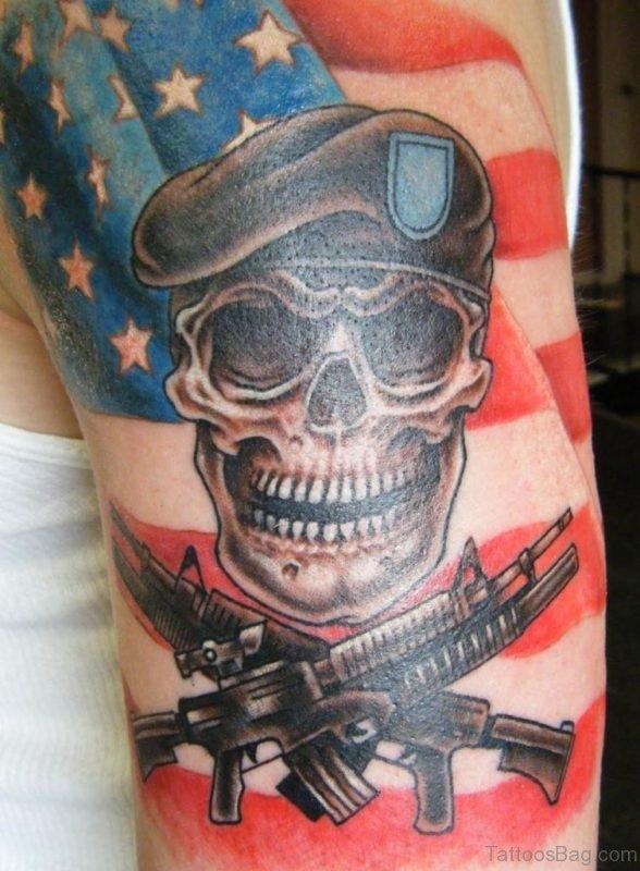 US Flag And Skull Tattoo