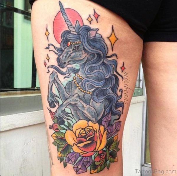 Unicorn And Yellow Rose Tattoos On Thigh