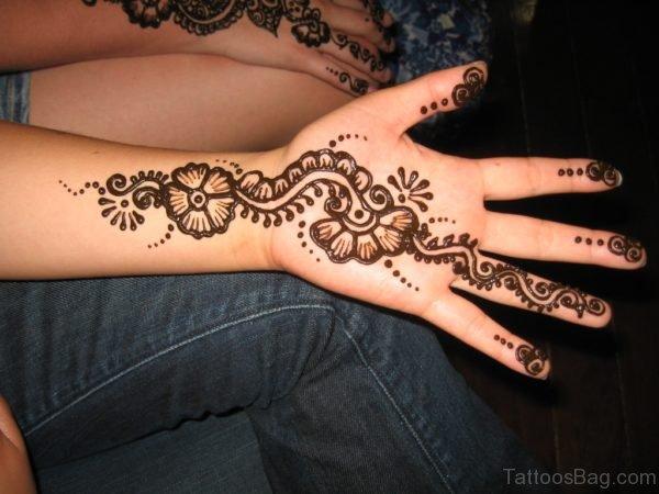 Unique Henna Flower Tattoo